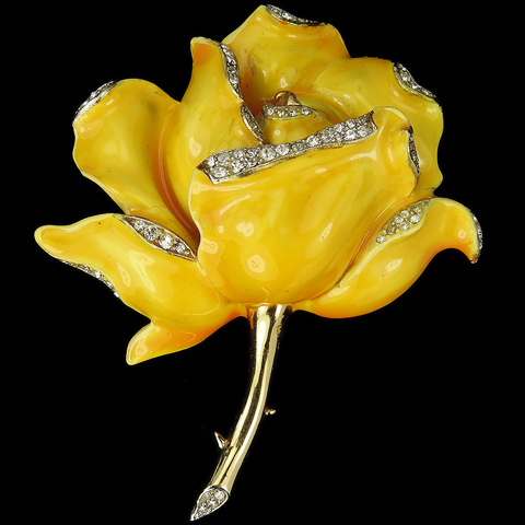 Trifari 'Alfred Philippe' Gold Pave and Enamel Yellow Rose Pin
