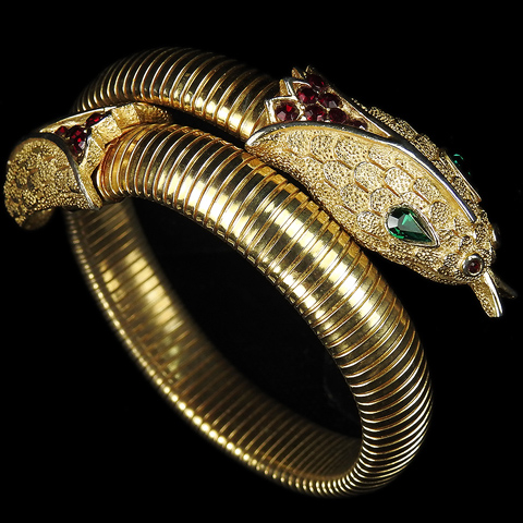 Trifari 'Alfred Philippe' Gold Rubies and Emeralds Elasticated Snake Bracelet