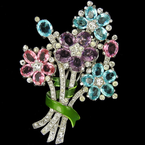 Trifari 'Alfred Philippe' Tricolour Pastel Stones and Enamel Four Flowers with Shoots Floral Spray Pin Clip