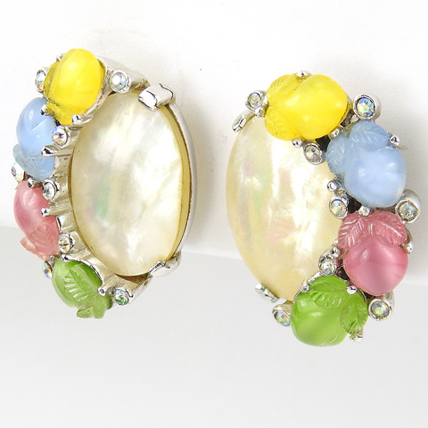 Trifari 'Alfred Philippe' Mother of Pearl Aurora Borealis and Pastel Fruit Salads Button Clip Earrings