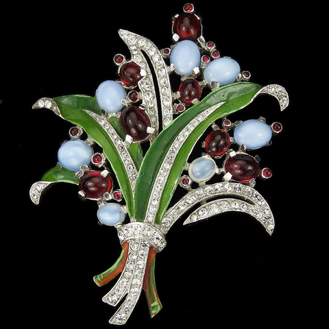 Trifari 'Alfred Philippe' Pave Enamel Moonstone and Ruby Cabochons Floral Spray Pin