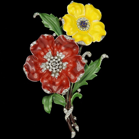 Trifari 'Alfred Philippe' 'Rue de la Paix' Pave and Enamel Red and Yellow Primrose or Poppy Flowers Spray Pin Clip