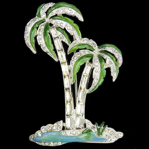 Trifari 'Alfred Philippe' Pave Enamel and Baguettes Two Palm Trees on a Desert Island with Blue Lagoon Pin