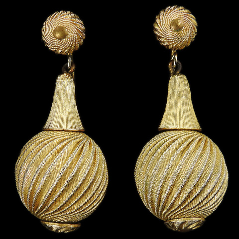 Trifari Swirling Golden Globes Pendant Clip Earrings