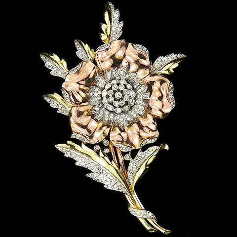 Trifari 'Alfred Philippe' 'Rue de la Paix' Pave Yellow and Rose Gold Primrose or Poppy with Spray of Leaves Pin Clip