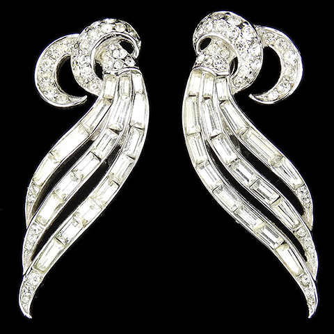 Trifari 'Alfred Philippe' Pave and Baguettes Double Crescents and Triple Leaf Swirls Clip Earrings