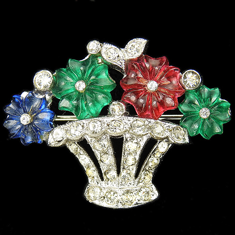 KTF Trifari (unsigned) 'Alfred Philippe' Pave and Three Colour Fruit Salad Flowers Flower Basket Pin