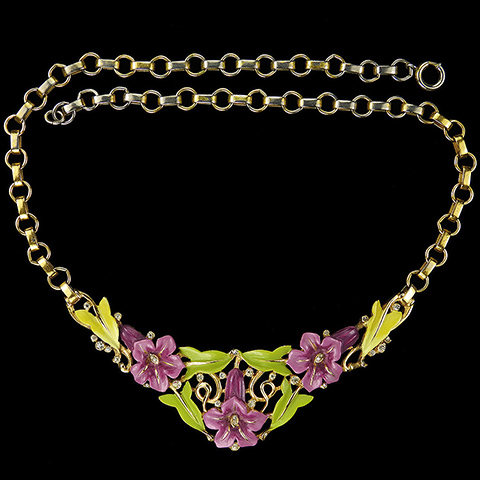 Trifari 'Alfred Philippe' Purple Lillies and Green Leaves Enamelled Floral Spray Necklace