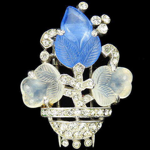 Trifari 'Alfred Philippe' Sapphire and Moonstone Fruit Salad Flower Vase Pin Clip
