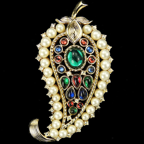 Trifari 'Alfred Philippe' 1956 Production Moghul Gold Tricolour Cabochons and Pearls Paisley Pattern Floral Swirl Pin