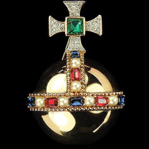 Trifari 'Alfred Philippe' 'Coronation Gems' Gold Pave Pearls and Gems Ceremonial Orb Pin
