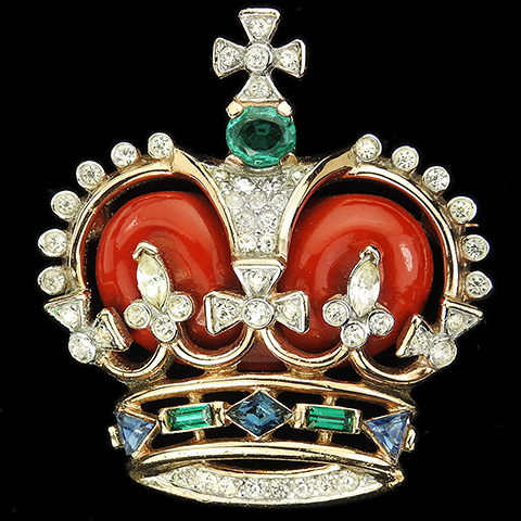 Trifari 'Alfred Philippe' 'Coronation Gems' Red Royal Crown Pin
