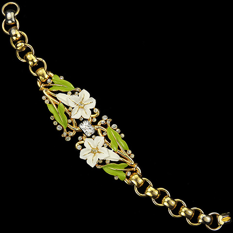 Trifari 'Alfred Philippe' White Lillies and Green Leaves Enamelled Floral Spray Bracelet