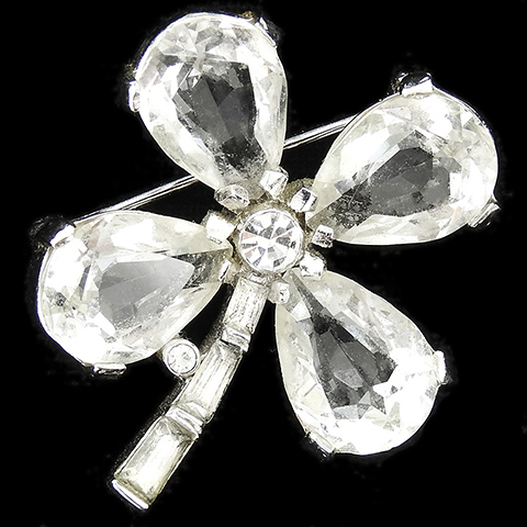 Trifari 'Alfred Philippe' 'Fabulous Clover' Diamante Four Leaf Clover Large Pin