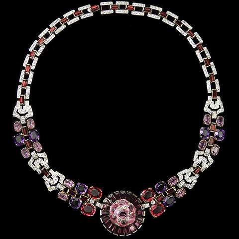 Trifari 'Alfred Philippe' Ruby Pink Topaz and Dark and Pale Amethysts Flower Choker Necklace