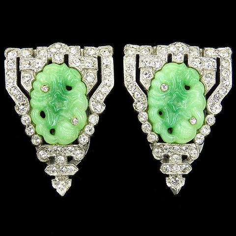 KTF Trifari 'Alfred Philippe' 1930s Ming Series Pave Shields and Jade Ovals Pair of Dress Clips