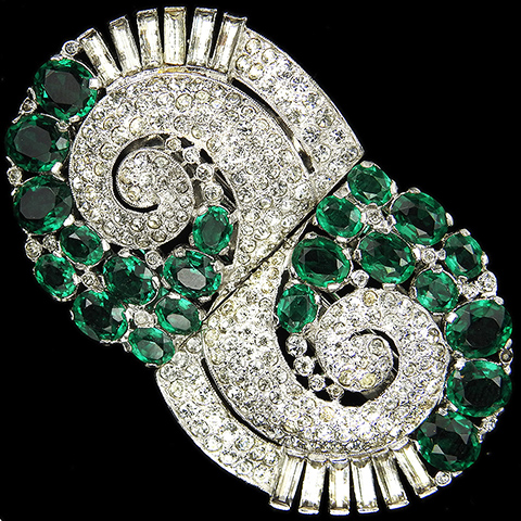 KTF Trifari 'Alfred Philippe' Pave Baguettes and Emeralds Deco Swirls Pair of Dress Clips or Clipmate Pin
