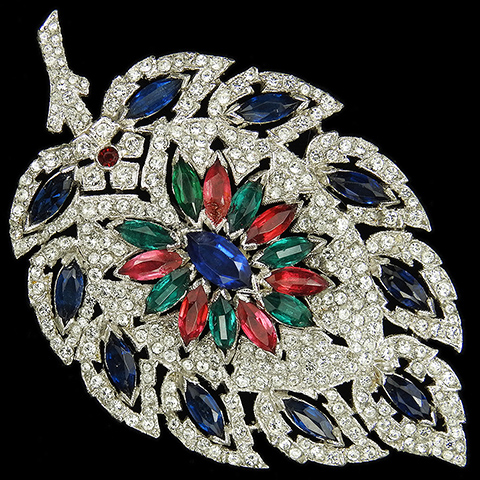 KTF Trifari 'Alfred Philippe' 1930s Jewels of India Pave and Tricolour Stones Large Leaf Pin