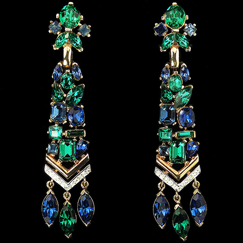 Trifari 'Alfred Philippe' 'Jeweled Symphony' Emerald and Sapphire Gold and Pave Chevrons Pendant Clip Earrings