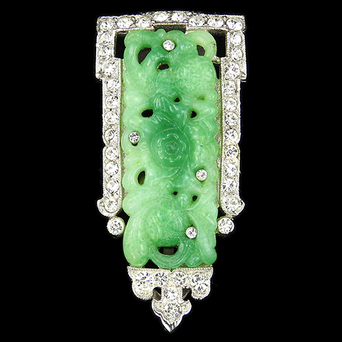 KTF Trifari 'Alfred Philippe' 1930s Ming Series Pave and Carved Jade Dress Clip