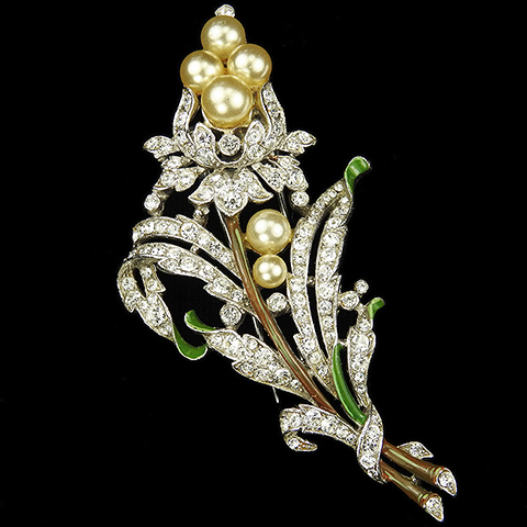 Trifari 'Alfred Philippe' Pave and Enamel Leaves and Pearls Bell Flower Floral Spray Pin Clip