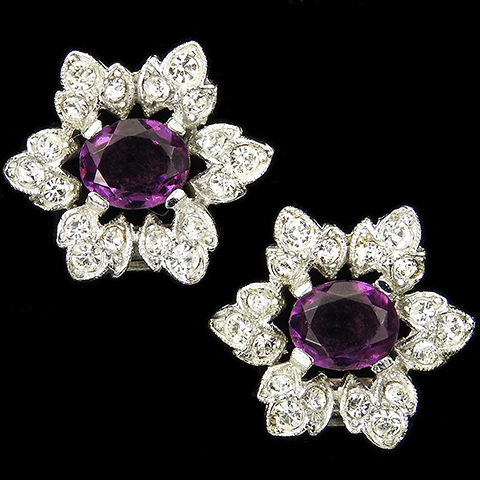 KTF Trifari 'Alfred Philippe' Pave and Amethyst Star Flower Clip Earrings
