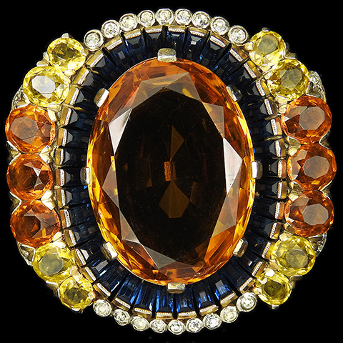 Trifari 'Alfred Philippe' Sapphire Baguettes Citrine and Topaz Flower Cluster Pin