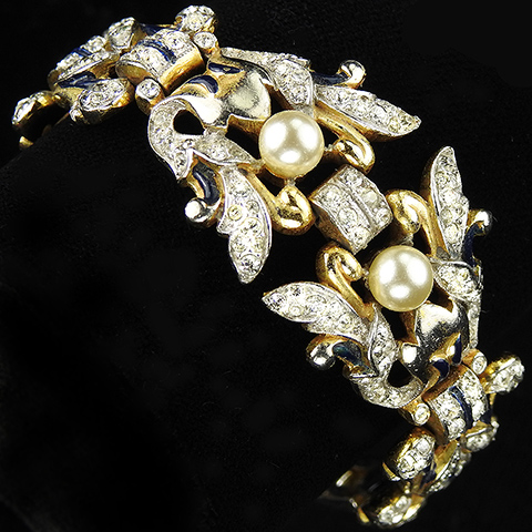 Trifari 'Alfred Philippe' 'Empress Eugenie' Gold Pave Enamel and Pearls Floral Bracelet