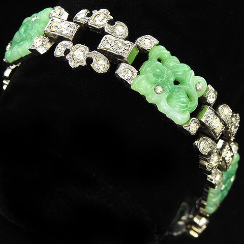 KTF Trifari 'Alfred Philippe' Pave and Jade Rectangles 1935 'Ming' Series Link Bracelet