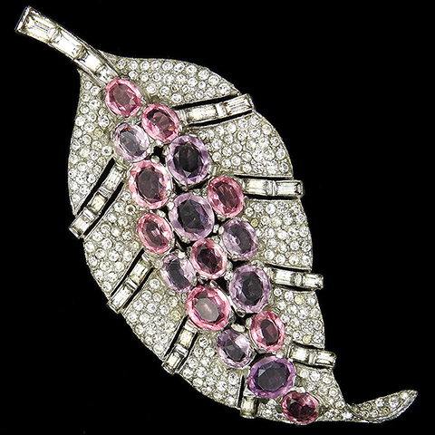 Trifari 'Alfred Philippe' Pave Baguettes Pink Topaz and Amethysts Openwork Leaf Pin Clip