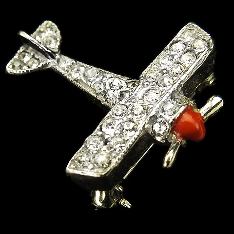 Trifari WW2 US Patriotic Red White and Blue Miniature Airplane Pin