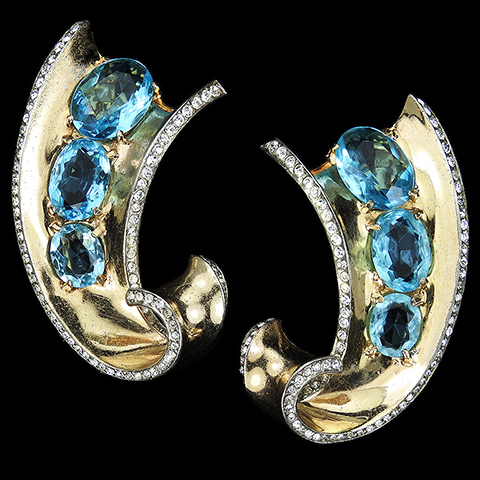 Trifari Sterling 'Alfred Philippe' Gold Pave Triple Aquamarines Matched Pair of Swirl Pin Clips
