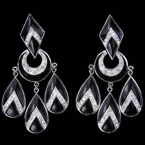 Trifari Pave and Black Chevrons Diamond Crescent and Teardrops Multiple Pendant Clip Earrings