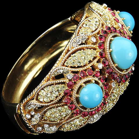 Trifari 'Alfred Philippe' Moghul Jewels Style Gold Openwork with Citrine Leaves Ruby Circles and Turquoise Cabochons Bangle Bracelet