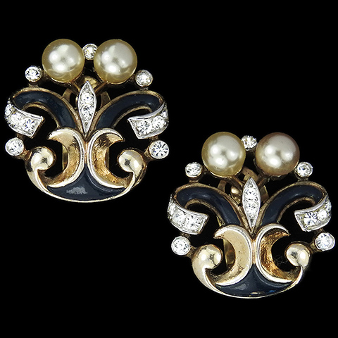 Trifari 'Alfred Philippe' 'Romantique' Empress Eugenie Pave Pearls and Enamel Clip Earrings
