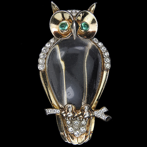 Trifari Sterling 'Alfred Philippe' Jelly Belly Owl Bird Pin Clip