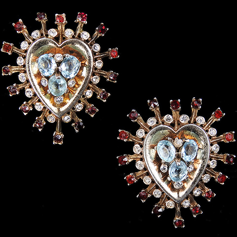 Trifari Sterling 'Alfred Philippe' Gold Aquamarine and Ruby Heart Clip Earrings