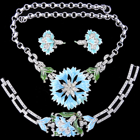 Trifari 'Alfred Philippe' 'Rue de la Paix' Pave and Enamel Light Blue Carnation Flower Necklace, Bracelet and Clip Earrings Set