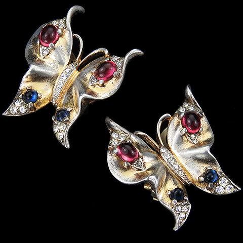 Trifari Sterling 'Alfred Philippe' Gold Pave and Ruby and Sapphire Cabochons Butterfly Clip Earrings