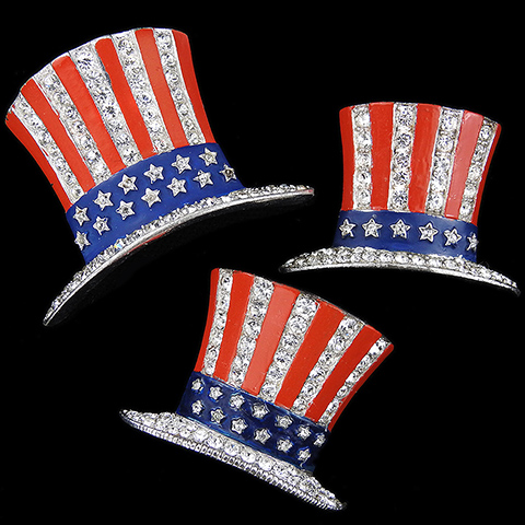 Trifari 'Alfred Philippe' WW2 US Patriotic Set of Large, Medium and Small Uncle Sam's Hat Pins