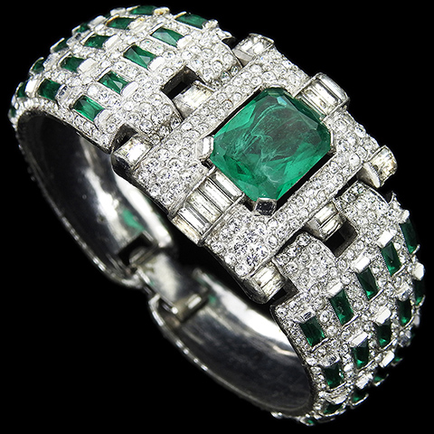 KTF Trifari 'Alfred Philippe' Pave Table Cut Emerald and Studded Emerald Baguettes Hinged Bangle Bracelet