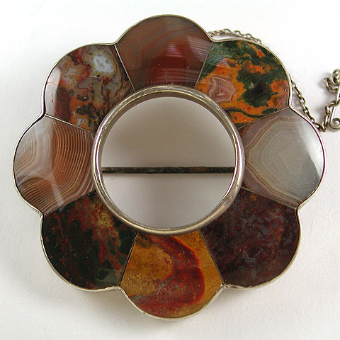 Victorian Scottish Agate Circle Pin