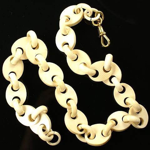 Victorian Carved Ivory Chain with 9K Gold Clasp Necklace
