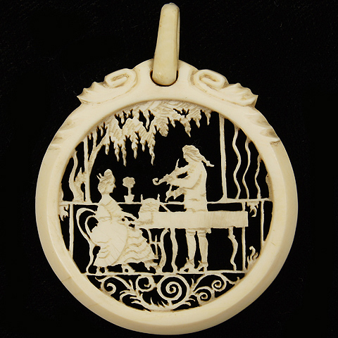 Victorian Intricately Carved Ivory Violin Player in Duet with Lady Harpsichord Player Musical Scene Pendant