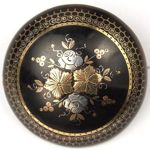 Victorian Tortoiseshell and Gold and Silver Piqué Work  Flowers Fruits and Leaves Dome Pin