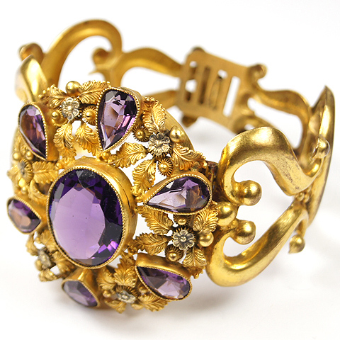Victorian Pinchbeck and Amethysts Flowers and Scrolls Bangle Bracelet