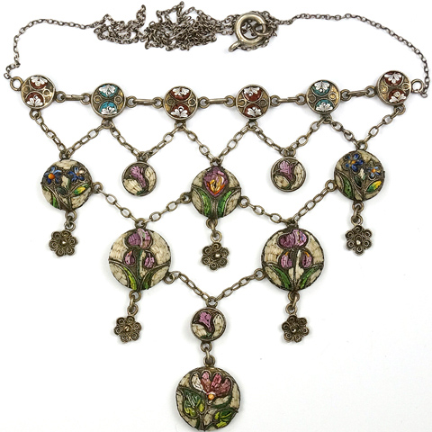 Victorian Silver and Micromosaic Flower Scenes Pendant Necklace
