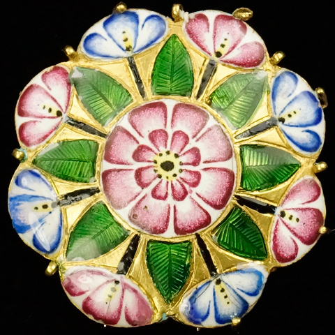 Victorian 18ct Gold and Enamel Octagon Geometrical Flower Pattern Pin Clip