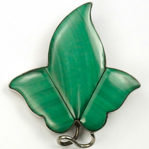 Victorian Scottish Silver Malachite Ivy Leaf Pin