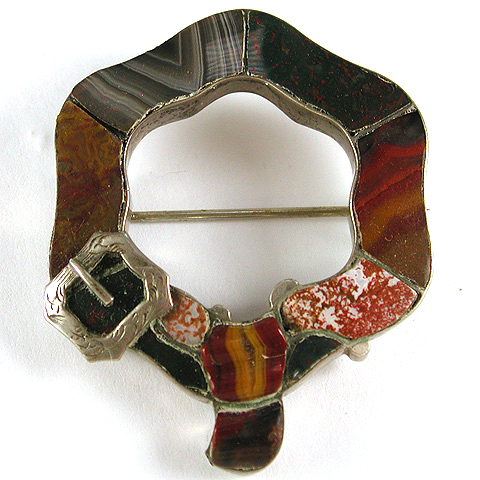 Victorian Scottish Agate Hexagonal Belt Buckle Pin